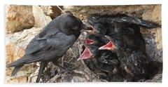 Raven Babies Breakfast Beach Towel