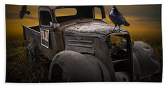 Raven Hood Ornament On Old Vintage Chevy Pickup Truck Beach Towel