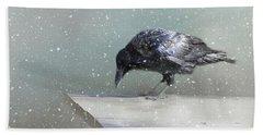 Raven In Winter Beach Towel