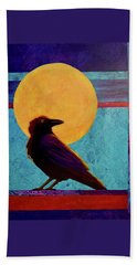 Beach Towel featuring the painting Raven Moon by Nancy Jolley