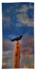 Beach Towel featuring the photograph Raven Pole by Jan Amiss Photography