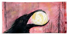 Beach Towel featuring the painting Raven Steals The Sun by 'REA' Gallery