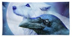 Beach Towel featuring the mixed media Raven Wolf Moon by Carol Cavalaris