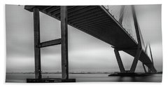 Ravenel Bridge November Fog Beach Towel