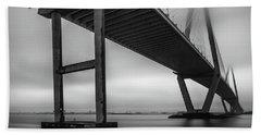 Ravenel Bridge November Fog Beach Towel