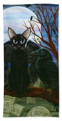Raven's Moon Black Cat Crow Beach Towel