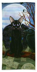Beach Towel featuring the painting Raven's Moon Black Cat Crow by Carrie Hawks