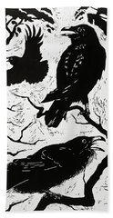 Ravens Beach Towel by Nat Morley
