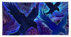 Beach Towel featuring the painting Ravens On Blue by Teresa Ascone