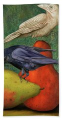Ravens On Pears Beach Sheet by Leah Saulnier The Painting Maniac