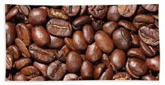 Raw Coffee Beans Background Beach Towel