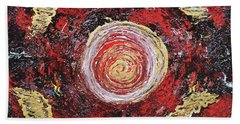 Raw Harmony Red And Gold Art Beach Towel