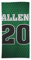Ray Allen Boston Celtics Retro Vintage Jersey Closeup Graphic Design Beach Towel