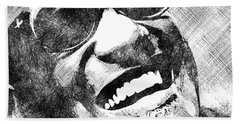 Ray Charles Bw Portrait Beach Towel by Mihaela Pater