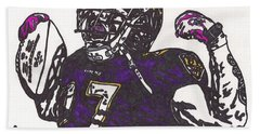 Beach Sheet featuring the drawing Ray Rice 1 by Jeremiah Colley