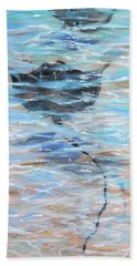 Beach Sheet featuring the painting Rays Gliding by Linda Olsen