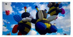 Hot Air Balloon Cheerleaders Beach Sheet