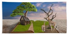 Beach Towel featuring the mixed media Reach For Your Dreams Giraffe Art by Marvin Blaine