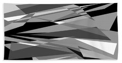Reaction - Black And White Abstract Beach Towel