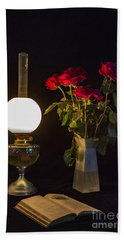 Beach Towel featuring the photograph Reading By Oil Lamp by Brian Roscorla