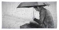 Reading In The Rain - Umbrella Beach Sheet by Nikolyn McDonald