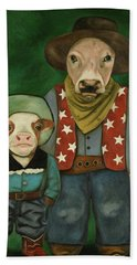 Beach Towel featuring the painting Real Cowboys 3 by Leah Saulnier The Painting Maniac