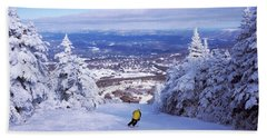 Rear View Of A Person Skiing, Stratton Beach Towel