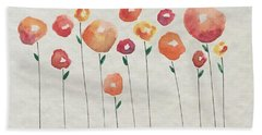 Red Abstract Floral Beach Towel