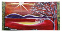 Red Abstract Landscape With Gold Embossed Sides Beach Towel