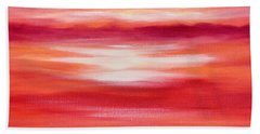 Red Abstract Sunset Beach Towel