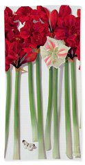 Red Amaryllis With Butterfly Beach Towel