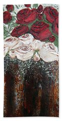 Red And Antique White Roses - Original Artwork Beach Towel