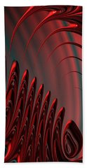 Red And Black Modern Fractal Design Beach Towel