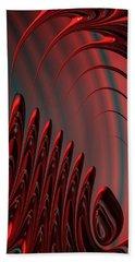 Red And Black Modern Fractal Design Beach Sheet