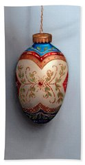 Red And Blue Filigree Egg Ornament Beach Towel