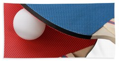 Red And Blue Ping Pong Paddles - Closeup Beach Towel