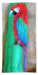 Red And Green Macaw  Beach Towel