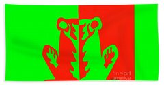 Red And Green Negative Positive Frog Beach Towel