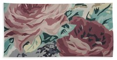 Red And Pink Flowers Beach Towel