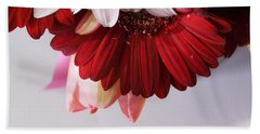 Red And Pink Gerberas And Tulips Beach Sheet