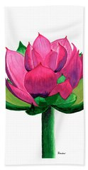 Red And Pink Lotus Floral Watercolor Painting 619 Beach Sheet