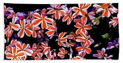 Red And White Flowers Beach Towel