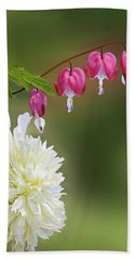 Red And White Beach Towel by Judy Johnson