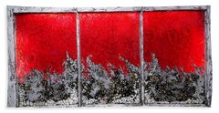 Red And White Window # 1 Beach Towel