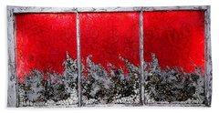 Red And White Window # 1 Beach Sheet