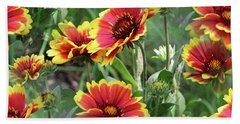 Red And Yellow Daisy Dreams Beach Towel
