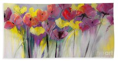 Red And Yellow Floral Field Painting Beach Towel by Lisa Kaiser