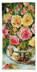 Red And Yellow Roses Beach Towel by Alexandra Maria Ethlyn Cheshire