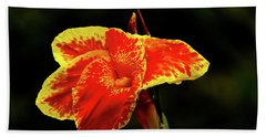 Red And Yellow Single Flower Beach Towel