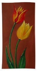 Red And Yellow Tulips Beach Sheet